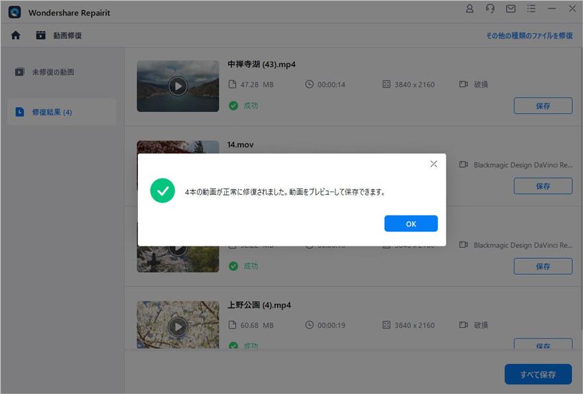 修復されたWMV動画ファイルをプレビューして保存